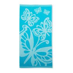 Beach Towel 450GSM, 34 x 63 - Butterflies, Teal - Butterflies Beach Towels (Set of 2)100% Cotton