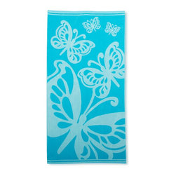 Beach Towel 450GSM, 34 x 63 - Butterflies, Teal - Butterflies Beach Towels (Set of 2)100% Cotton