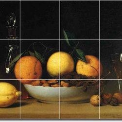 Picture-Tiles, LLC - A Dessert Aka Still Life With Lemons And Oranges Tile Mural By Raphael - * MURAL SIZE: 36x48 inch tile mural using (12) 12x12 ceramic tiles-satin finish.