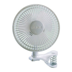 "Lasko Products - Clip Fan 6 "" White - The Lasko 6"" White Clip Fan can go almost anywhere, and its personal size makes it ideal for cramped qt.ers. For added versatility, the fan head can rotate a full 360 to direct air precisely where it's needed most. It's available in four, fun colors to coordinate with the 6"" Personal Fan. Two, Whisper-Quiet Speeds with Easy-Grip Rotary Control. Spring-Loaded Clip Clamps onto Objects 3/4"" to 1-3/8"" wide. Durable, Impact-Resistant Plastic Construction. Easy to Assemble. No Tools Required. U.L. Listed."
