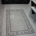 Heavenly Bodies Stone Mosaic - Heavenly Bodies, custome natural stone mosaic rug in Calacatta Tia, Montevideo and Celeste.