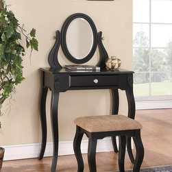 None - Black One-Drawer Vanity With Stool - Give yourself a comfortable place for applying makeup with this ornate vanity with stool. The oval mirror helps you catch stray hairs or uneven foundation,while the black finish and fine carved details lend elegance to this three-piece set.