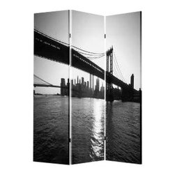New York Skyline Screen - A three-panel screen or room divider can serve as another piece of art in any room, too. This screen will put you in a New York state of mind with the iconic bridge and skyline image.