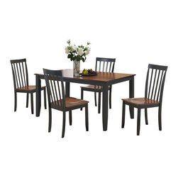 Boraam - Boraam Bloomington 5 Piece Dining Set in Black/Cherry - Boraam - Dining Sets - 21034 - A reliable 5 piece dining set with a versatile appearance and rich color finish is exactly what you'll find here. The Bloomington 5 piece set is the perfect size to gather loved ones around for all occasions. Engineered with solid hardwood and precision construction equals a durable dining set that will surely stand the test of time. Additional stability is also provided through the shaker style table and chair legs. Its smooth lines and handsome appearance will undoubtedly boost the ambience of any dining area. Plus its attractive two-toned color finish makes it seamlessly transition with anyone's interior decor taste. Interested in making a 6 or 7-piece set? Simply add the Bloomington Bench to make a 6pc set or two more Bloomington Chairs to create a 7pc set! Either way you can't go wrong. Stable with a classic look; this set is not a purchase but an investment.