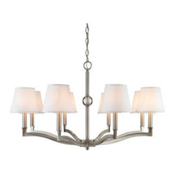 Golden Lighting - Golden Lighting 3500-8-PW-CWH Waverly 8 Light Chandelier, Pewter & White Shade - Streamlined classic forms have a timeless appeal. Suitable for transitional to traditional styles. Crystal clear glass ball accents glisten. Simple elegance is accented by the beautifully plated Pewter finish. Collection is also available in warm, plated Aged Brass finish. Classic White shades emit a soft glow. Also available with black silken Tuxedo shades. A chandelier creates a stylish focal point. Dramatically sized for prominent living and dining rooms or lobbys.