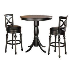 Coaster - Coaster Lathrop 3 Piece Pub Set in Black Finish - Coaster - Pub Sets - 1002781002793PKG