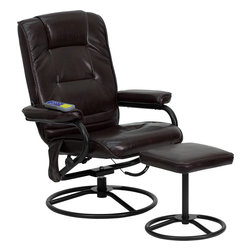 Flash Furniture - Flash Furniture Massaging Brown Leather Recliner and Ottoman with Metal Bases - Enjoy a relaxing massage in the comfort of your own home or office with this Recliner and ottoman set. This set offers maximum massaging power that massages your back, lumbar area and thighs. With three intensity levels and five massage modes you are sure to get the comfort that you're looking for. Look no further for your perfect massage chair offered at an incredible price!
