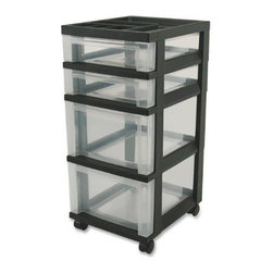 IRIS USA, Inc. - 4-Drawer Cart with Organizer Top and Casters, Black - This cart offers a modern look with functionality of 2 shallow and 2 deep drawers as well as an organizer top. Great for storing items in the home, office or hobby room. Includes casters and built-in drawer stops.