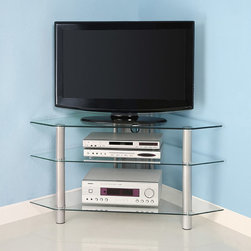 Walker Edison - Glass Metal 44-inch Corner TV Stand - This contemporary corner glass TV stand will hold up to a 48-inch television. It has two lower shelves to accommodate AV components and a cable management system to keep cords organized and hidden. The glass is beveled tempered safety glass.