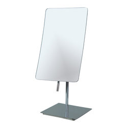 "Manillons - Curved Tabletop Mirror w/ 3x Magnification - Curved Tabletop rectangular Mirror w/ 3x magnification. Mirror dimension: 5-1/4"" by 8-1/4"". It is an ideal bathroom and makeup accessory with various angle options to make your application process simple and catered specifically to your needs. Stands upright on countertops, vanities and tables. Chrome finish protects against moisture and condensation. 3x magnification and frameless design."