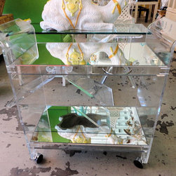 Lucite Bar Cart - What room is complete without a bar cart? This vintage Lucite one would be the star of your home.