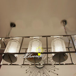 Crystal rectangle 4 Lights Chandelier in Chrome Finish -