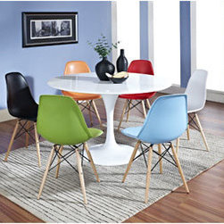 "LexMod - Lippa 7 Piece Dining Set in MultiColored - Lippa 7 Piece Dining Set in MultiColored - Achieve the perfect completion of time and grace with the classic Lippa Table. Reflect seamlessly as organic shapes and a slender stem-like pedestal glide you to the perfect vantage point. Elevate your surroundings beyond the sharp four-cornered traditional table as you blend divergent perspectives into one centrifugal force par excellence. These molded plastic chairs are both flexible and comfortable, with an exciting variety of base options. Suitable for indoors or out, appropriate for the living and dinning room, these versatile chairs are a great addition to any home dcor statement. Set Includes: One - 48"" Lippa Dining Table Six - Wood Pyramid Side Chairs Table: Aluminum Base, Scratch and Chip Resistant Finish, Fiberglass Top, Chairs: Solid Wood Base, Plastic Non-Marking Feet, For Indoor or Outdoor Use Overall Table Dimensions: 48""L x 48""W x 29""H Overall Chair Dimensions: 21""L x 18.5""W x 32.5""H Seat Dimensions: 17""L x 18""W x 18""H Overall Product Dimensions: 69""L x 69""W x 32.5""H - Mid Century Modern Furniture."