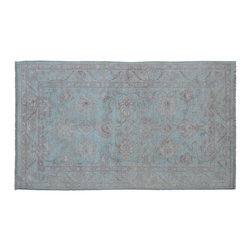Oriental Rug, 100% Wool 3'X5' Sky Blue Oushak Stone Wash Hand Knotted Rug SH9122 - Hand Knotted Oushak & Peshawar Rugs are highly demanded by interior designers.  They are known for their soft & subtle appearance.  They are composed of 100% hand spun wool as well as natural & vegetable dyes. The whole color concept of these rugs is earth tones.