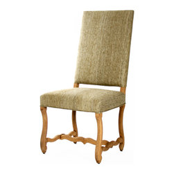 Kathy Kuo Home - Freija French Country Gray Silk Dining Chair - This Spanish revival armless dining chair marries a minimalist seat with intricate detailing along the frame and central stretcher.  Cut from solid oak, the organic undulating lines compliment the raw silk upholstery in a muted greige.