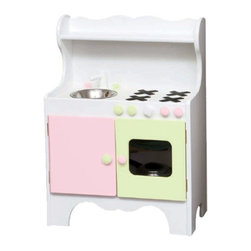 Little Colorado - Little Colorado Kids Play Kitchen - White with Soft Pink/Pastel Green - 092SWSP - Shop for Cooking and Housekeeping from Hayneedle.com! It may not be available in a working adult-sized model yet but the colors on the Little Colorado Kids Play Kitchen - White with Soft Pink/Pastel Green will make cooking as fun as it should be. The 36 lb. hardwood body of this kid-sized kitchen features a stainless steel sink with turning knobs a stove and working cabinet doors to store all those pots and pans or to become a pretend oven. The smooth white finish alternates with pastel green and pink for a light fun appearance. You also have the choice of purchasing this kitchen with an optional oven window in one of the cabinet doors. Dimensions: 24L x 14W x 34H inches. Recommended ages 3-6 years. Little Colorado is a Green CompanyAll finishes are water-based low-VOC made by Sherwin Williams and other American manufacturers. Wood raw materials come from environmentally responsible suppliers. MDF used is manufactured by Plum Creek and is certified green CARB-compliant and low-formaldehyde. All packing insulation is 100% post-consumer recycled. All shipping cartons are either 100% post-consumer recycled or are made of recycled cardboard. About Little ColoradoBegun in 1987 Little Colorado Inc. creates solid wood hand-crafted children's furniture. It's a family-owned business that takes pride in building products that are classic stylish and an excellent value. All Little Colorado products are proudly made in the U.S.A. with lead-free paints and materials. With a look that's very expensive but a price that is not Little Colorado products bring quality and affordability to your little one's room.