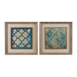 Grace Feyock - Grace Feyock Stained Glass Indigo Transitional Wall Art / Wall Decor X-21514 - Prints are accented by oatmeal linen mats then surrounded by medium toned reclaimed wood frames with a taupe wash and matching filet. Prints are under glass.