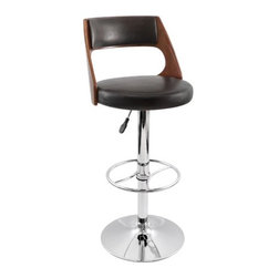 "LumiSource - Presta Barstool in Cherry Wood - With a sleek and elegant design, the Presta Barstool will add sophistication to your home or bar. Black leatherette seat and backrest, beautiful wenge wood accent, and a polished chrome finish on the footrest and base finish off the look. With the added feature of hydraulic lift to adjust the seat height and 360 swivel, you may never want to get up! Features: -Barstool. -Material: Leather / Bent Wood. -Brown leatherette seat and backrest. -With Cherry Wood accent. -Polished chrome base and footrest. -Hydraulic lift to adjust the seat height. Specifications: -Seat height: 33"". -360 swivel. -Dimensions: 43"" H x 17"" W x 17"" D."