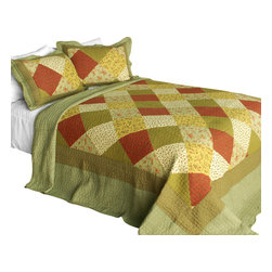 Blancho Bedding - Green Fields Cotton 3PC Vermicelli-Quilted Printed Quilt Set  Full/Queen - Set includes a quilt and two quilted shams (one in twin set). Shell and fill are 100% cotton. For convenience, all bedding components are machine washable on cold in the gentle cycle and can be dried on low heat and will last you years. Intricate vermicelli quilting provides a rich surface texture. This vermicelli-quilted quilt set will refresh your bedroom decor instantly, create a cozy and inviting atmosphere and is sure to transform the look of your bedroom or guest room. Dimensions: Full/Queen quilt: 90 inches x 98 inches  Standard sham: 20 inches x 26 inches.