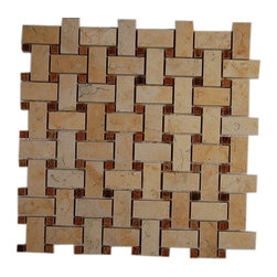 Basket Weave Jerusalem Gold & Wood Onyx Marble Mosaic Tile - BASKET WEAVE JERUSALEM GOLD WITH WOOD ONYX DOT GLASS TILE