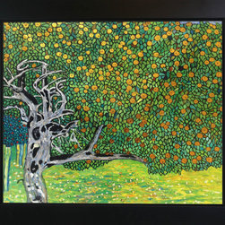 "overstockArt.com - Klimt - Golden Apple Tree (Luxury Line) - 20"" X 24"" Oil Painting On Canvas This painting is part of our ""Luxury Line"". It is made of the same hand painted oils on canvas, with the addition of beautifully hand embellished gold and silver accents. Exclusive only to our highest quality reproductions. Hand painted oil reproduction of a famous Klimt painting, Golden Apple Tree . The original masterpiece was created in 1903. Today it has been carefully recreated detail-by-detail, color-by-color to near perfection. Gustav Klimt (1862-1918) was one of the most innovative and controversial artists of the early twentieth century. Influenced by European avant-garde movements represented in the annual Secession exhibitions, Klimt's mature style combines richly decorative surface patterning with complex symbolism and allegory, often with overtly erotic content. This work of art has the same emotions and beauty as the original. Why not grace your home with this reproduced masterpiece? It is sure to bring many admirers!"