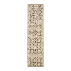 Safavieh - Runner Rug (10 ft. x 2 ft. 6 in.) - Size: 10 ft. x 2 ft. 6 in. Transitional style. Hand tufted weave. Special high-low construction. Made from wool. Brown and white color. Made in India. Pile height: 0. 63 in. Decorate your home with the Safavieh Cambridge Welsh rug. The stunning colors are sure to impress. Care Instructions: Vacuum regularly. Brushless attachment is recommended. Avoid direct and continuous exposure to sunlight. Do not pull loose ends; clip them with scissors to remove. Remove spills immediately; blot with clean cloth by pressing firmly around the spill to absorb as much as possible. For hard-to-remove stains professional rug cleaning is recommended.
