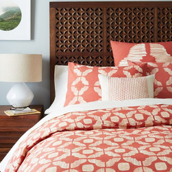 Ikat Tile Duvet Cover, Cherry Cola - New sheets are an obvious choice. Choose a color you love, and go from there!