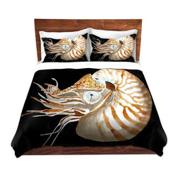 DiaNoche Designs - Duvet Cover Microfiber by Marley Ungaro - Deep Sea Life- Nautilus - Super lightweight and extremely soft Premium Microfiber Duvet Cover in sizes Twin, Queen, King.  This duvet is designed to wash upon arrival for maximum softness.   Each duvet starts by looming the fabric and cutting to the size ordered.  The Image is printed and your Duvet Cover is meticulously sewn together with ties in each corner and a hidden zip closure.  All in the USA!!  Poly top with a Cotton Poly underside.  Dye Sublimation printing permanently adheres the ink to the material for long life and durability. Printed top, cream colored bottom, Machine Washable, Product may vary slightly from image.