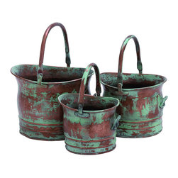 Benzara - Contemporary Metal Planter with Rustic Style in Green - Set of 3 - If you are looking for a rustic styled metal planter then this home accessory makes an excellent choice. This metal planter will surely enhance your interior decor with an opulent style. You can place this artistic accessory in your garden or your living room which also makes for an excellent option if you have a large backyard. This metal planter can be placed near windows for a stylish look. Available in green with brown patches that gives it an earthy appearance, this metal planter can be ideal for people who wish to add a blend of modern and traditional design to their decor. The top quality material used ensures long-lasting performance and service after years of use. This accessory can also be used to enhance the decor of your office. Simply place it near the windows or even near plants to add an artistically modern effect to decor. It is available in 3 size variants - 7 1/2 in.  H x 8 in.  W x 9 in.  D, 8 in.  H x 10 in.  W x 11 in.  D, 10 in.  H x 12 in.  W x 13 in.  D.