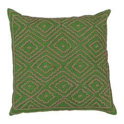 "Surya LD028-2020P 100% Linen w/ Cotton Detail 20"" x 20"" Decorative Pillow - Raised pattern makes this textured pillow stand out. This pillow has a polyester fill and a zipper closure. Made in India with one hundred percent Linen and cotton detail, this pillow is durable and priced right. Filler: Poly Fiber. Shape: Square"