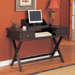 Coaster - Mahogany Casual Desk - This collection is in a rich tobacco finish. Desk features a flip-top desk top, perfect for storing your laptop. Two storage drawers complete this set. Matching bookcase and console table also come with storage baskets and are fully assembled.