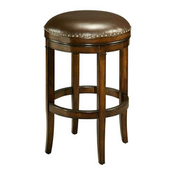 "Pastel Furniture - Naples Bay Backless Barstool - This handsomely crafted backless barstool features a quality wood frame made of distressed cherry with sturdy legs and foot rest. The padded seat is upholstered in a leather ridge offering comfort and style. Available in 26"" counter height or 30"" bar height."