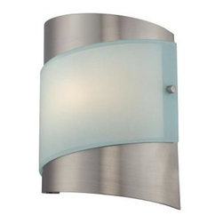 Illumine - Illumine Designer Collection 1-Light 7 in. Steel Wall Sconce with Frost Glass Sh - Shop for Lighting & Fans at The Home Depot. This 1-light wall sconce, part of the Designer Collection, offers a trendy solution that is sure to satisfy all your-lighting needs. This wall sconce combines unique styling and excellent quality to create the perfect blend that will exceed your expectations. Combining a steel finish with frost glass shade, this functional yet stylish fixture will add a renewing element in various decor settings.