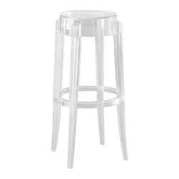 Lemoderno - Fine Mod Imports  Clear Bar Stool, Clear - In spite of the evanescent and crystalline impression, strong resistant to blows, scratch proof and weatherproof; as many as six pieces can be piled up. With a strongly charismatic character and outstanding aesthetic appeal, this stool fits perfectly into every home or public area with elegance and irony. This item is a high quality reproduction of the original. Made of Transparent Acrylic    Assembled