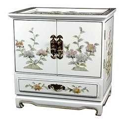 Oriental Unlimted - 5-Drawer Empress Jewelry Box w Felt Lined Com - 5 Drawers. Compartments are felt lined. White with floral design. Doors open to reveal 4 felt lined drawers. Brass hardware is clear lacquered to resist tarnish. No assembly required. 16 in. W x 11.5 in. D x 16 in. H