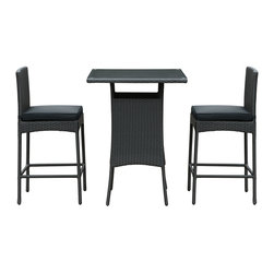 LexMod - Cerveza 3 Piece Outdoor Patio Pub Set in Black Black - Whatever your taste, the suds are best sipped with a friend. Take two from the fridge and venture outside to some crisp air and happy laughter. The Cerveza set is small enough for any patio or backyard space, but amiably modern to help deliver good times.