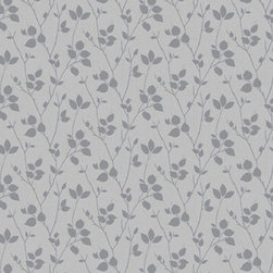 Graham & Brown - Virtue Gray Wallpaper - Sublimely simple, this organic leaf silhouette wallpaper is delicately frosted with mica highlights.