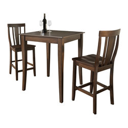 Crosley Furniture - 3 Pc Pub Dining Set w Shield Back Stools in M - Includes Pub Table and 2 Shield Back Stools in Mahogany. Solid Hardwood & Veneer Construction Table . Solid Hardwood Stools. Hand Rubbed, Multi-Step Finish. Solid Hardwood, Carved Cabriole Style Legs. Shaped Back for Comfort. Table Dimensions: 36 in. H x 32 in. W x 32 in. D. Stool Dimensions: 40 in. H x 18.5 in. W x 22.5 in. DConstucted of solid hardwood and wood veneers, the 3 piece Pub / High Dining set is built to last. Whether you are looking for dining for two, or just a great addition to the basement or bar area, this set is sure to add a touch of style to any area of your home.