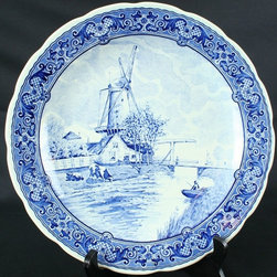 Boch - Consigned Vintage Blue Delft Majolica Plate Charger - Product Details