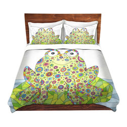 DiaNoche Designs - Duvet Cover Microfiber by Valerie Lorimer - The Cheerful Frog - Super lightweight and extremely soft Premium Microfiber Duvet Cover in sizes Twin, Queen, King.  This duvet is designed to wash upon arrival for maximum softness.   Each duvet starts by looming the fabric and cutting to the size ordered.  The Image is printed and your Duvet Cover is meticulously sewn together with ties in each corner and a hidden zip closure.  All in the USA!!  Poly top with a Cotton Poly underside.  Dye Sublimation printing permanently adheres the ink to the material for long life and durability. Printed top, cream colored bottom, Machine Washable, Product may vary slightly from image.