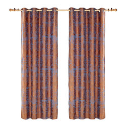Dolce Mela - Dolce Mela DMC466 Window Treatment Damask Drapes Hathor Curtain Panels - Bring the utmost amiable accent to your window dressing with these luxury linen drapes featuring golden jacquard damask patterns on a shimmering light slate-blue background to create a trendy and elegant decor.