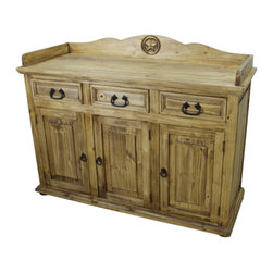 "Mexican Rustic Wood Sideboard / Buffet With Texas Star Carving - Solid wood, Mexican rustic Pine sideboard/buffet.  Check out our TEXAS STAR collection of furniture.  A Tres Amigos favorite!  Color may vary slightly""."