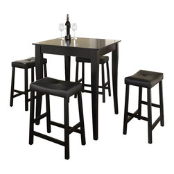 Crosley Furniture - 5 Pc Pub Dining Set w Cabriole Leg and Saddle - Includes Pub Table and 4 Stools in Black. Solid Hardwood & Veneer Construction Table . Solid Hardwood Stools. Hand Rubbed, Multi-Step Finish. Solid Hardwood, Carved Cabriole Style Legs. Durable Stain Resistant Faux Leather PVC Seat. Table Dimensions: 32 in. H x 32 in. W x 32 in. D. Stool Dimensions: 24 in. H x 18.5 in. W x 22.5 in. DConstucted of solid hardwood and wood veneers, the 5 piece Pub / High Dining set is built to last. Whether you are looking for dining for four, or just a great addition to the basement or bar area, this set is sure to add a touch of style to any area of your home.