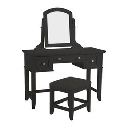 Home Styles - Home Styles Bedford Vanity Table and Bench in Black Finish - Home Styles - Bedroom Vanities - 553172 - Bedford Vanity and Table Bench features unadorned details such as the straight and curved lines, slightly flared legs, profile-edged top, and Brushed Nickel hardware allow for adaptable use of the Bedford Vanity Table within a variety of home settings. Use the table with the included mirror as a vanity table or without the mirror as a larger sized student desk. Table is finished in a Black finish over hardwood solids and engineered woods with a beveled glass tilt mirror; two felt-lined drawers; and a center storage drawer. Size: 46 x 19 x 31.5. The Naples Vanity Table Bench is finished in a Black finish over hardwood solids with a Black vinyl, cushioned seat and slightly flared legs. Size: 17w 15d 19h.