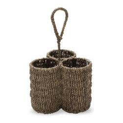 Tag - Seagrass 3-part Caddy, Coffee by Tag - Our natural seagrass brings durability and texture to your home. Sturdy enough for everyday use, this three-part storage caddy is perfect for holding flatware, make-up brushes, pencils and more. Seagrass is renewable, versatile and long lasting. Hand-twisted into twine and woven over hand-formed metal frames for stability.
