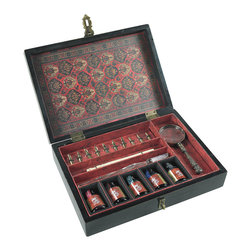 """Inviting Home - Trianon Writing Set - Trianon writing set; 10-1/4""""W x 2-1/2""""H x 7-1/4""""D; Beautiful Trianon calligraphy writing set is a perfect gift for a calligraphy enthusiast or to add a romantic touch to your home office decor..."""