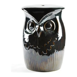 Owl Garden Stool - Perfect for a porch or sunroom, this Owl Garden stool with a deep green, glazed finish, will provide additional seating or will work well as a small table beside a chair.