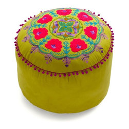 Folky Fresh Pouf in Olive - Lively style is a tradition in your adorable abode - especially with this energetically embroidered pouf! Perfect for impromptu seating, the occasional footrest, or posing your precious household pet, this oversized pillow features a cylindrical, olive surface is stitched with concentric circles of floral details brought into bloom with shades of violet, fuchsia, fresh blue, and brown. Finished with petite, purple pom-pom trim, this vivid and comfy cushion from Karma Living will fit in perfectly among your timeless, but never timid, decor, whether arranged in your bedroom, office, or color-saturated sitting room. #modcloth