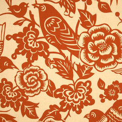 Aviary Fabric in Tangerine - This vibrant pattern is aviary and botanical, and just downright cheerful. In fact, I think this might be the same fabric that Jules has on her barstools on Cougartown, which gives it my extra stamp of approval.