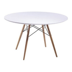 WoodLeg Dining Table Fiberglass Top - The Woodleg Dining Table is a truly comfortable Table, it is supported by an elegant Wood/Wire Base. Fiberglass table has a beautiful high gloss finish and is scratch resistant.